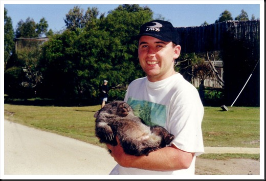 With Baby Wombat, Tasmania